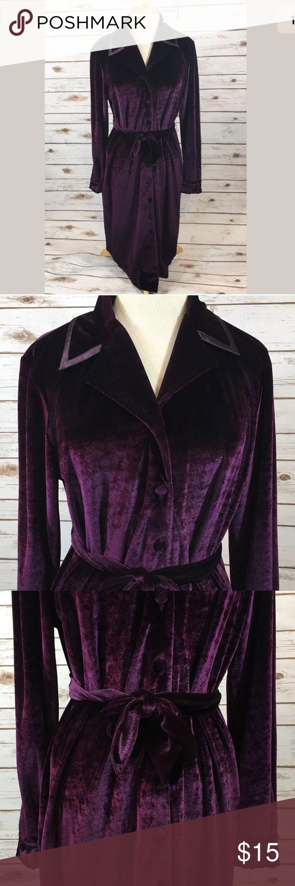 "Vintage 90s Purple Velour Dress Vintage 1990s Together! brand dark purple velour button-front belted long sleeve dress. Dress is unlined.  Labeled a size 10. All brands are sized differently. Please review measurements to ensure a proper fit.   Bust: 42"" Hip: 42"" Length: 45"" Sleeve: 24.5"" from shoulder seam to end of sleeve  Excellent preowned condition, no flaws to note. Vintage Dresses Midi"