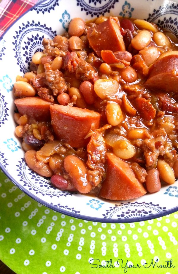 Three Meat Crock Pot Cowboy Beans Bbq Beans With Smoked Sausage Bacon And Ground Beef Cowboy Beans Crock Pot Cooking Three Meat