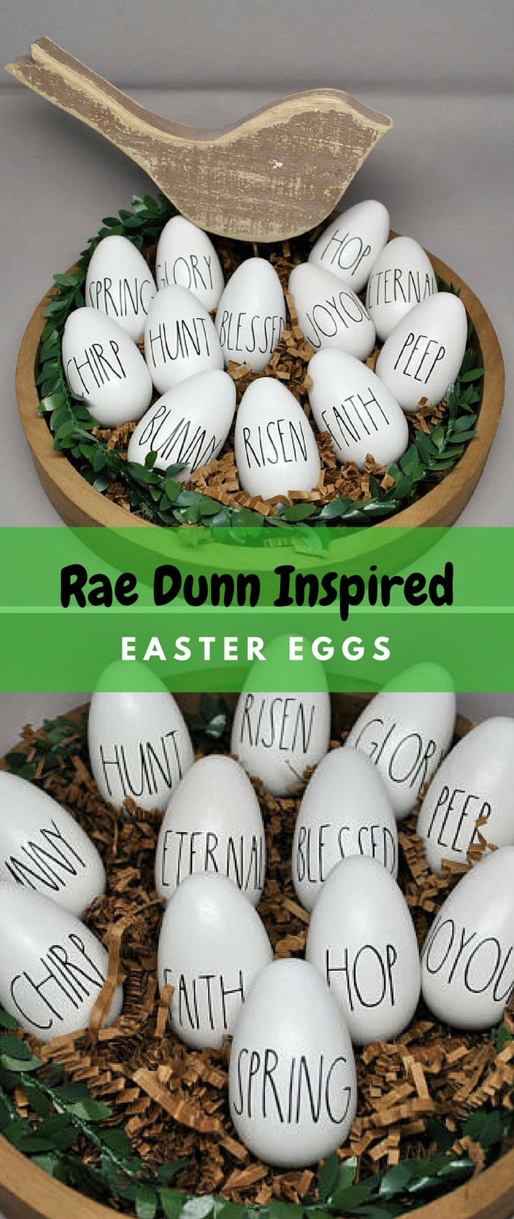 Decorate your home with these cute Rae Dunn inspired easter eggs. Great rustic farmhouse easter decor for your home. Click to see all the cute sayings available! #easter #eastereggs #raedunn #farmhouse #farmhousestyle #rustic #rusticdecor #homedecor #house #gifts #giftidea #etsy #etsyshop #ad