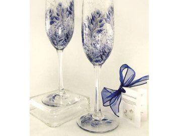 Pintados a mano 25 aniversario personalizada de copas de Champagne - medianoche Marina rosas azul y plata, juego de 4 - flautas de aniversario de boda