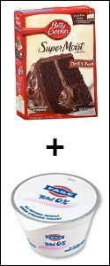 Worth a try!    This was on Dr. Oz last week ... very cool! Cake Mix + Fat-Free Greek Yogurt 180 calories per serving - never baking with eggs and oil again! *Pinners Note: THIS WORKS!! 1c chobani vanilla yogurt + 1 Betty Crocker cake mix + 1c water= super healthy!
