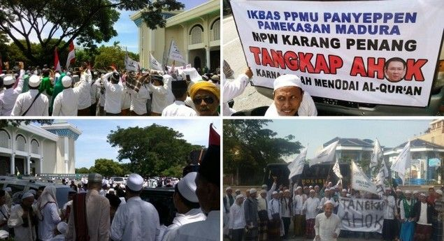 """Aliansi Ulama Madura dan Tapal Kuda Demo ke Polda Jatim Tuntut """"TANGKAP AHOK"""" !!!  [portalpiyungan.com]SURABAYA - Senin (17/10) siang ini Aliansi Ulama Madura dan Tapal Kuda (AUTADA) melakukan aksi unjuk rasa ke Polda Jawa Timur untuk menuntut penuntasan proses hukum atas Gubernur DKI Jakarta Basuki Tjahaja Purnama alias Ahok yang telah menghina Al-Quran dan Ulama. Para kyai beserta santri inikumpul di Masjid al Akbar Surabaya dan bergerak melakukan longmarch/jalan kaki ke Polda Jatim…"""