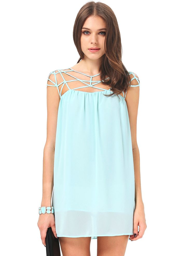 Mint Green Cut Out Shift Chiffon Mini Dress - She Inside