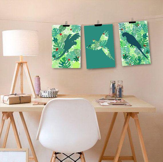 3 affiches jungle avec perroquets déclinaison de verts, affiche motif jungle par alexiableu
