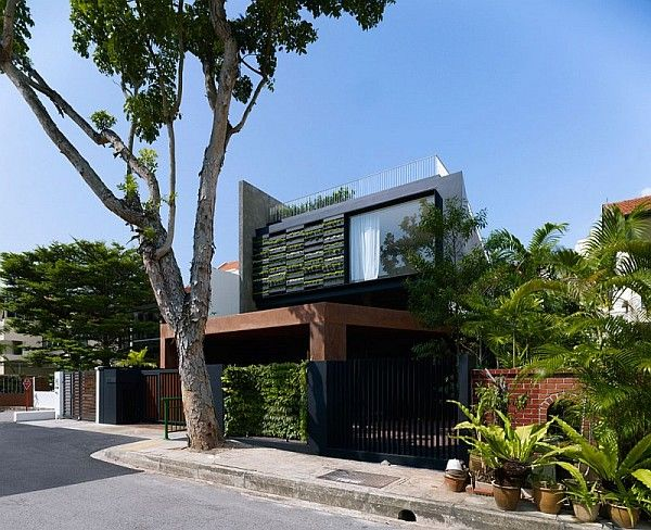 Contemporary Home in Singapore With Sloping Rooftops and Vertical Gardens