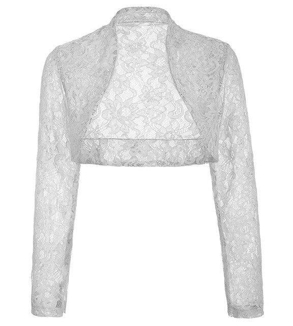 Autumn Jacket Womens Ladies Long Sleeve Cropped Shrug Black White Coat 2017 New Fashion Lace Bolero Plus Size Shrug 6 XXL