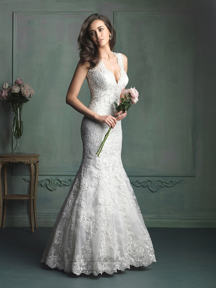 Gorgeous Sheath Straps Plunging V-neck Wedding Dress with Keyhole Back