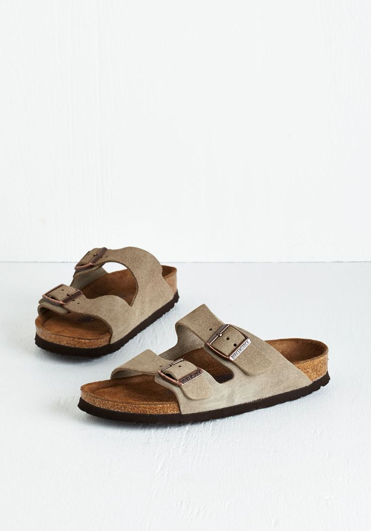 Strappy Camper Sandal in Taupe. Set up your tent, kick off those hiking boots, and step into these Birkenstock Arizona sandals! #grey #modcloth