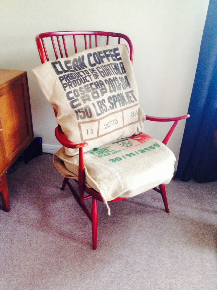 Ercol Windsor Chair - Upcycle project with burlap coffee bean sacks and new foam.