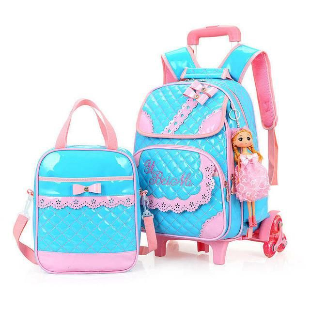 Bowknot Rolling Backpack Cute School Kids With Wheels Blue