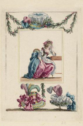 """""""La jeune Eglé pleurant l'absence de son amant: elle est habillée d'une robe à la Turque avec des manches de gaze qui sont retroussées par des rubans, elle est coeffée en cheveux au coquelicot"""", Gallerie des Modes, 1786; MFA 44.1648"""