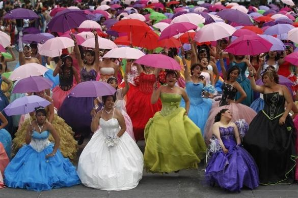 Zocalo,Mexico.Girls celebrate their Quinceanero (15 th. birthday)