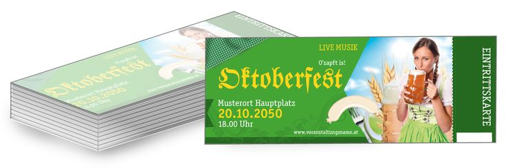 Zusätzlich zu den bereits vorgefertigten Oktoberfest Eintrittskarten können Sie #Werbebanner #Poster und #Flyer im selben Design online bestellen. #eintrittskarten #oktober #fest