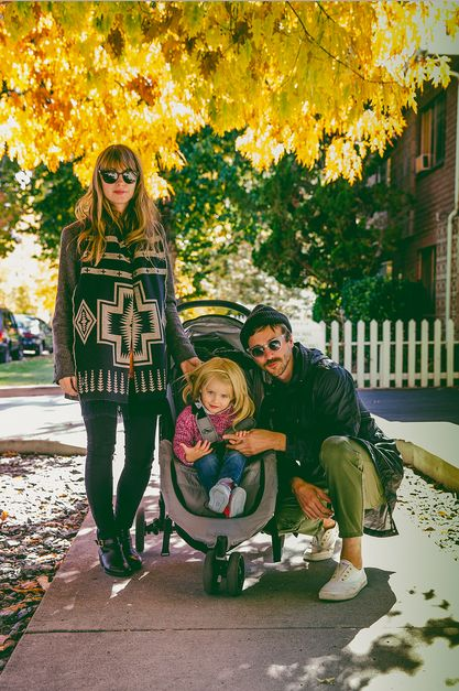 John Gourley, Zoe Manville, and Frances Theadore Gourley. SCREAMING LOOK AT THIS RAD AND HIP FAMILY