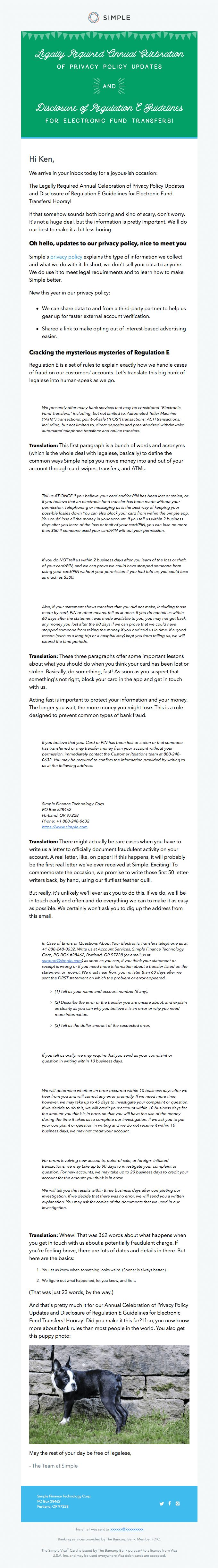 Great privacy policy update email from Simple - Really Good Emails