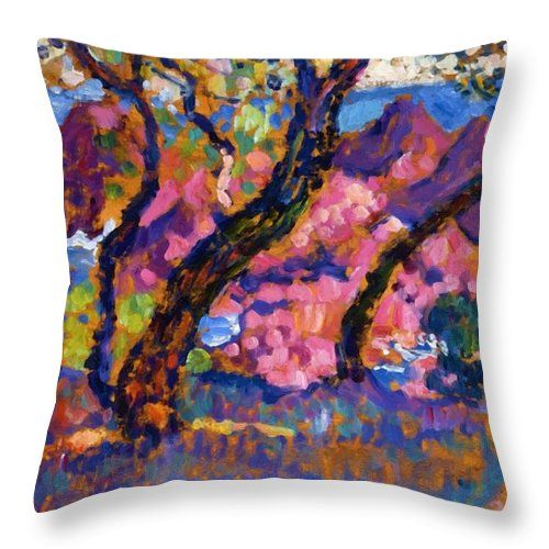 In Throw Pillow featuring the painting In The Shade Of The Pines Study 1905 by Rysselberghe Theo van