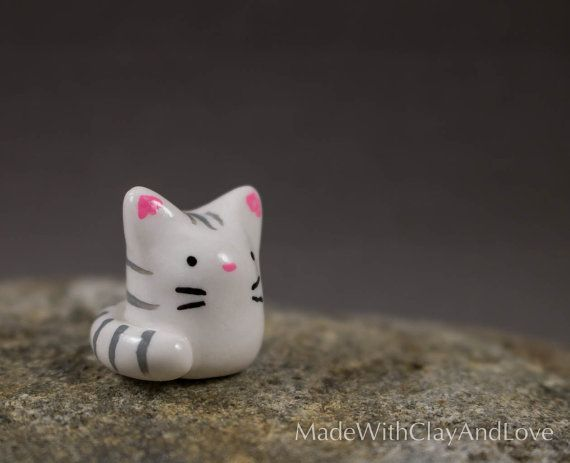 Little Kitty Miniature Polymer Clay Animal by MadeWithClayAndLove