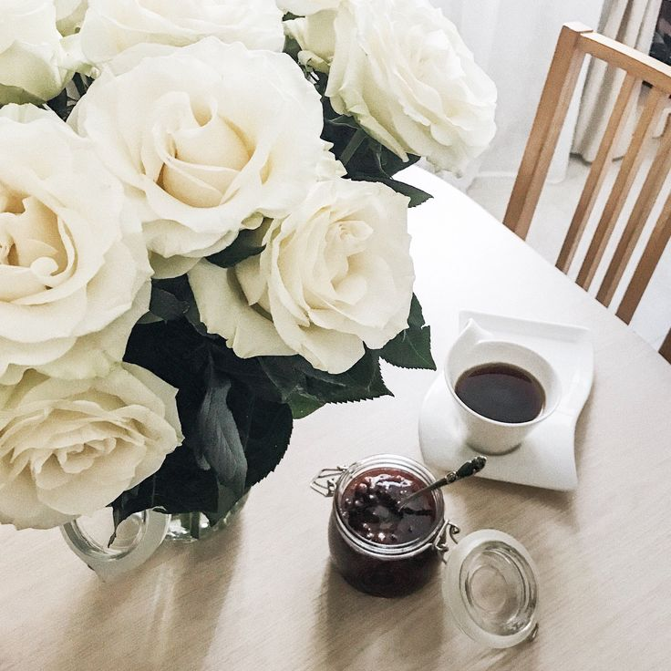 Good morning with White roses, tea and strawberry jam VSCO A6