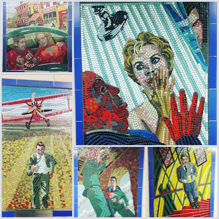 #hitchcock #mosaics at #leytonstone station  I stop and look at them every time! Particularly #love the #psycho one with #hitch in the foreground and #normanbates #peeping in from behind   #northbynorthwest #suspicion #vertigo #alfredhitchcock #movies #classicmovies #filmmaker #film #london #londongirl #marnie #janetleigh #carygrant #jamesstewart #hollywood #filmstar #director #auteur