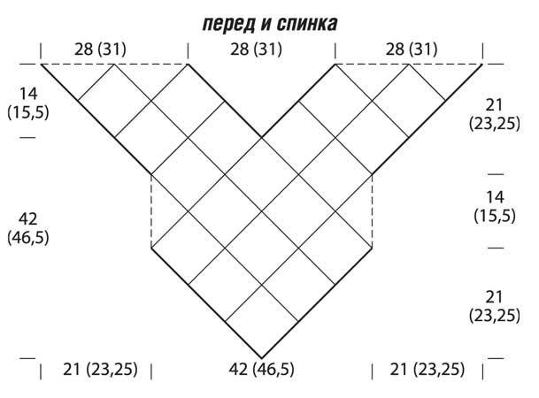 Схема и описание вязания крючком треугольного топа из мотивов из журнала «Мое любимое хобби. Вязание» №6/2015