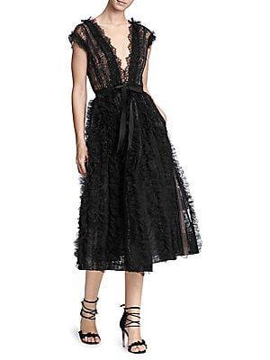 b0469fb838c Marchesa Lace Tulle V-Neck Cocktail Dress