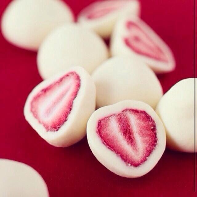 OMG, yogurt covered strawberries!?!? And I thought the yogurt covered raisins were good...