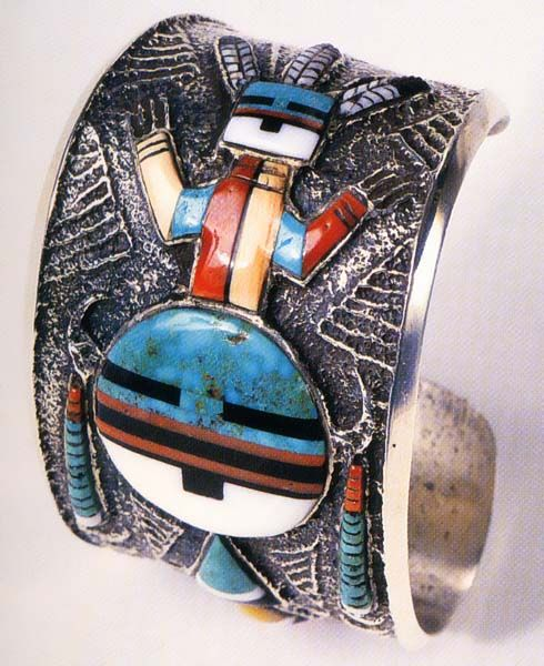 """Preston Monongya, Hopi, mosaic spiritual deity bracelet, tufacast. For the artist biography, see """"American Indian Jewelry I & III,"""" by Gregory and Angie Schaaf"""