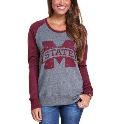Mississippi State Bulldogs Mascot Tri-Blend Raglan Crew Fleece Sweatshirt - Maroon/Gray