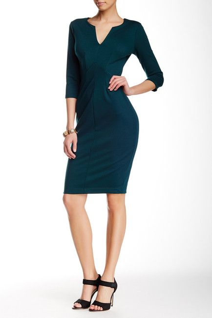 3/4 Length Sleeve Ponte Dress