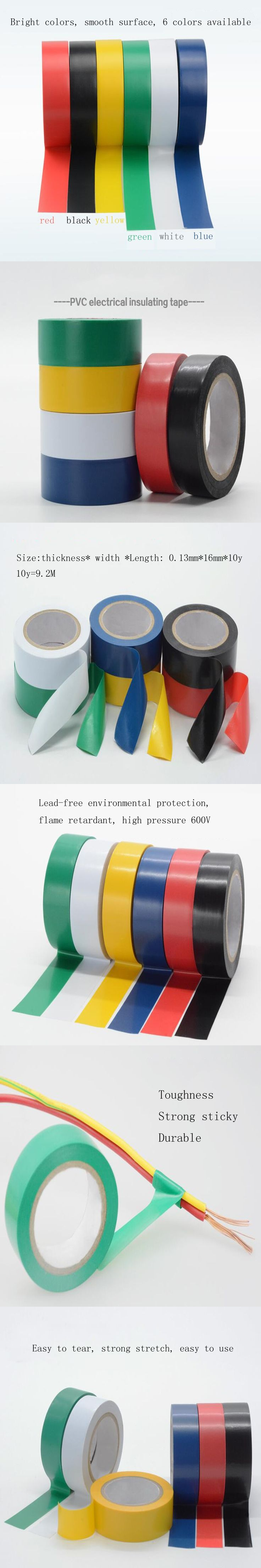 1PC 6 colors 16mm*10y(9.2M) waterproof insulation electrical tape electrical flame retardant PVC tape Repair Bonding Tools