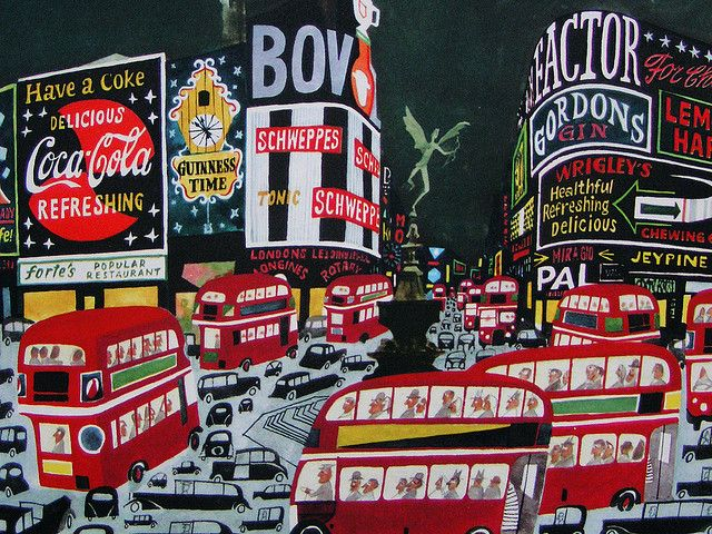 Piccadilly Circus from 'This is London' by M. Sasek, via pipnstuff