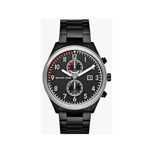 Michael Kors Michael Kors Saunder Black-Tone Watch (4,440 THB) ❤ liked on Polyvore featuring men's fashion, men's jewelry, men's watches, black, mens leather strap watches, blue dial mens watches, michael kors mens watches, mens chronograph watches and mens stainless steel watches