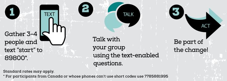 Text, Talk, Act | Creating Community Solutions On Thursday, May 7th* (in partnership with SAMHSA's National Children's Mental Health Awareness Day), bring your friends, family and peers together to take part in this nationwide event. When your group is ready, text START to 89800.  *Can't join us on that date? Text, Talk, Act is available April-May 2015. Simply text START to 89800 when your group is ready to begin.
