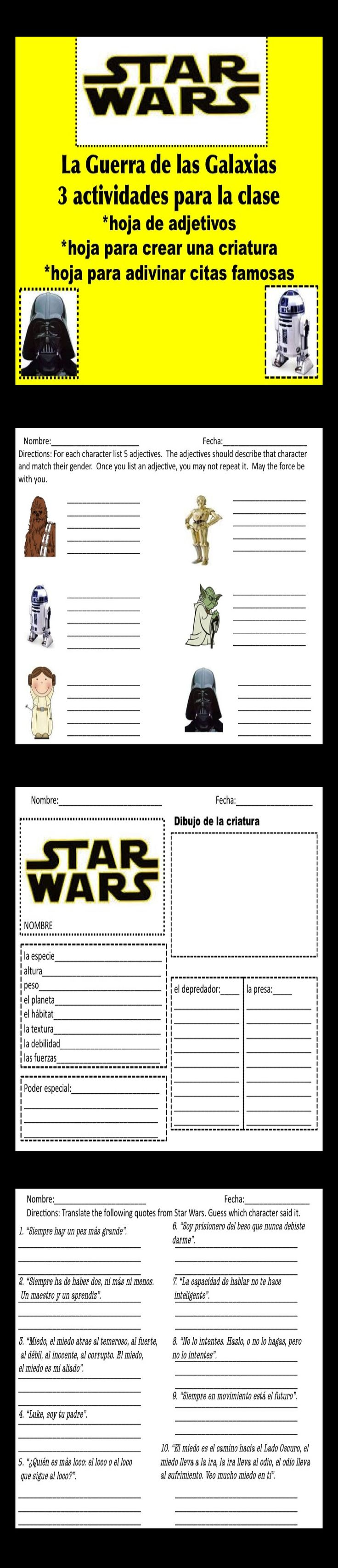 17 best images about spanish lesson plans high school star wars 3 actividades para la clase de espanol spanish lessonssspanish topicsspanish