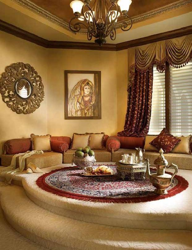 A Moroccan Style Platform Majlis Sitting Room