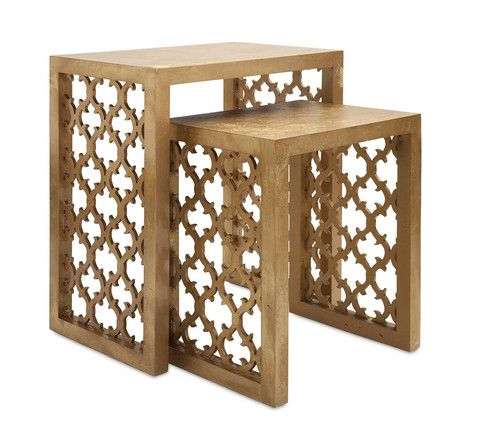 IMAX Canaberra Nesting Tables - Set Of 2 - Designer Becky Fletcher takes inspiration from the ageless appeal of delicately carved fretwork patterns for a pair of nesting tables in a matte gold finish for a timeless look that will never go out of style.