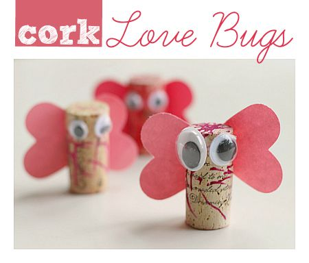 Valentine's Day Craft for kids made with wine corks so mom and dad can have fun too!