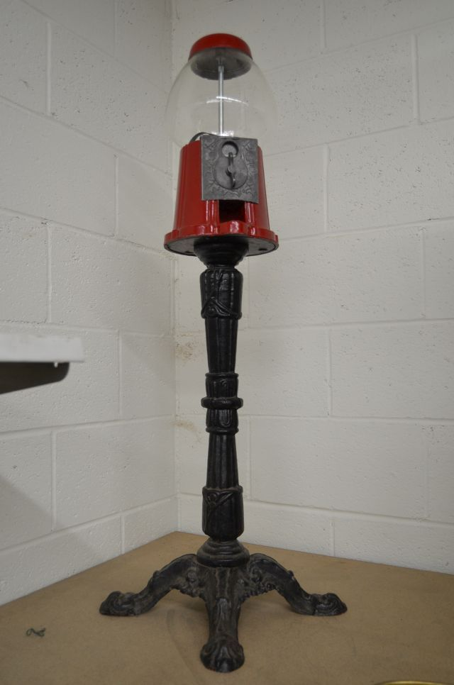 Gumball dispenser, 38 inches tall, red