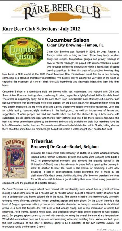 Rare Beer Club July 2012–Cigar City Cucumber Saison & Brouwerij De Graal Triverius