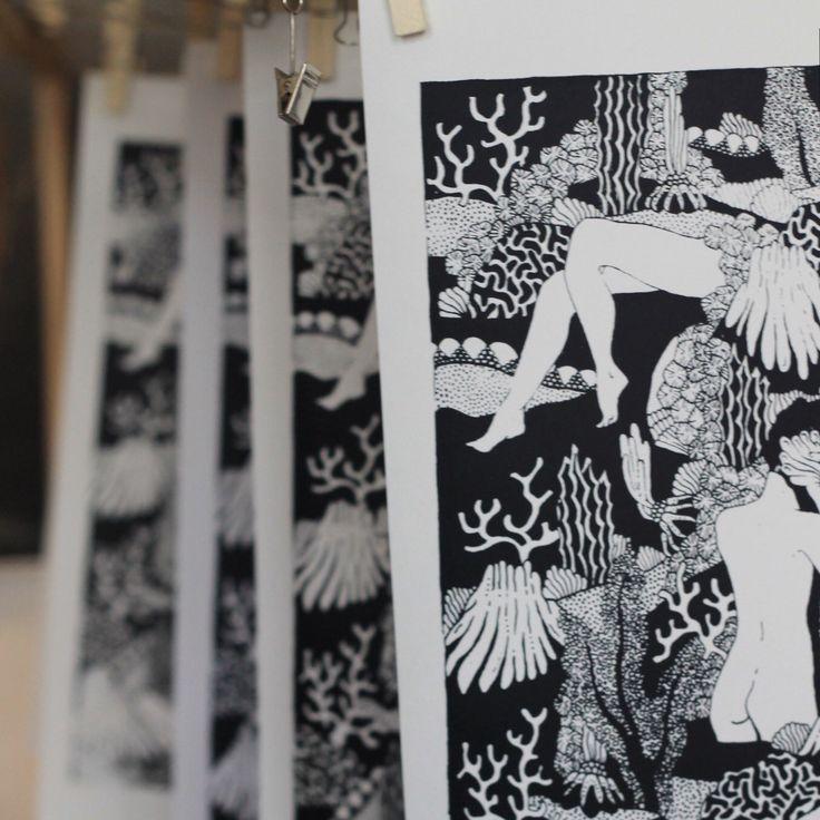 Plus qu'une sérigraphie disponible ! Sérigraphie Corail by Anne-Sophie Lacombe