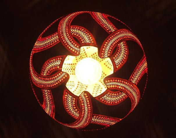 Beautiful Hanging Gourd Lamp Iii By Night   Amazing Exotic Gourd Lamps From Calabarte Amazing Ideas