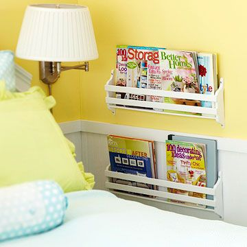 Great idea to put book rack by bed in small bedrooms - Use the Ikea Spice racks?