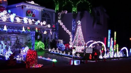Colorful Outdoor Christmas Light Display