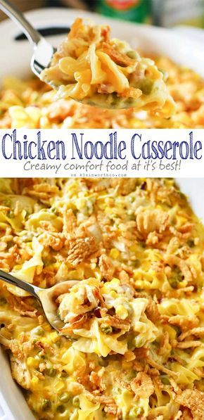 Easy family dinner ideas like Chicken Noodle Casserole are a great way to have c…