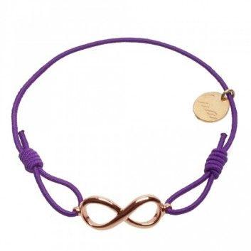 """Das Armband """"Forever Big"""" mit Unendlichkeitszeichen in Gold und Lila vom beliebten Hannoveraner Label Lua ist ein dezenter Blickfang für jeden Tag."""