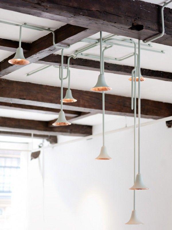 """Light Forest"" by Ontwerpduo, via trendland: Lamps, Hanging Lights, Trav'Lin Lights, Lights System, Lights Forests, Gold Accent, Copper Pendants, Industrial Style, Pendants Lights"