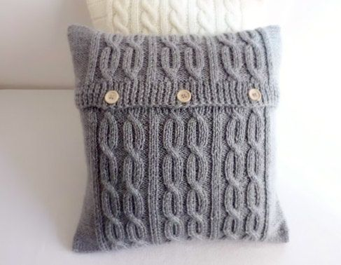Knitted pillow cover gray charcoal knit pillow por Adorablewares