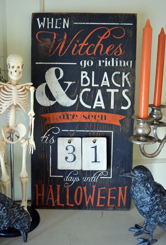 Distressed Wood Word Halloween Countdown by ChippyPaintDesigns, $57.50