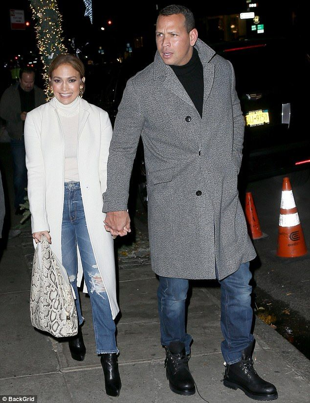 Date night: Jennifer Lopez, 48, enjoyed dinner with Alex Rodriguez, 42, at Nello in Manhat...