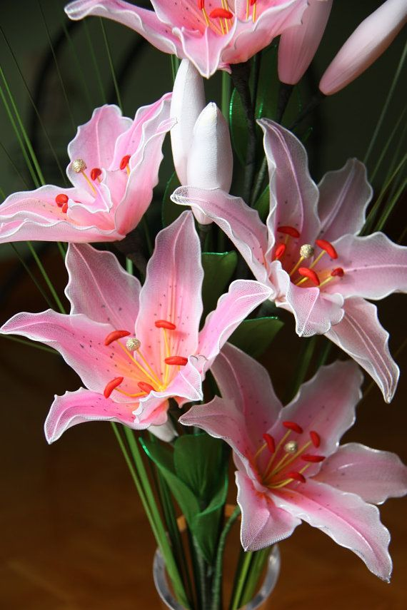 Nylon Lilies Flower arrangement, Centerpiece, Wedding flowers, Pink lily, mother day